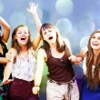 Students girls having fun - Stock Photo