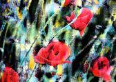 Květinové pozadí s červenými květy máku. — Stock fotografie