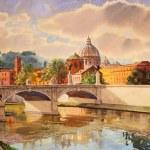 Постер, плакат: Basilica San Pietro and Ponte Vittorio Emanuele in Rome Italy