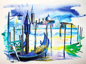 A view with boat in Venice, painted by watercolor — Stock Photo