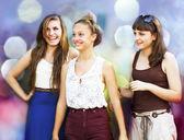 Students girls having fun — Stock Photo
