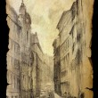 Roman cityscape painted on the old paper isolated on black. — Stock Photo