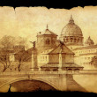 Roman cityscape painted on the old paper isolated on black — Stock Photo