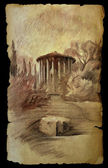 The Temple of Vesta in Rome, Italy painted on old paper isolated on black. — Stock Photo