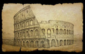 Colosseum painted by ink on old paper, isolated on black. — Stock Photo