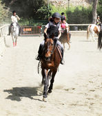 Children's competitions in equestrian on June 29, 2013 in Barcelona, Spain. — Stock Photo