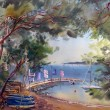 Stock Photo: Watercolor painting of Cote d'Azur, France.
