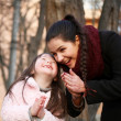 Happy family moments - sisters have a fun. — Stock Photo