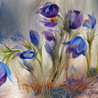 Watercolor painting of the beautiful spring flowers. — Stock Photo