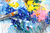Closeup of brush and palette — Stock Photo