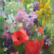 Stock Photo: Oil painting of beautiful flowers.