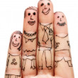 Fingers Family isolated on white background — Stock Photo
