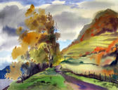 Autumn landscape painted by watercolor — Stock Photo