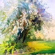 Watercolor painting of the blooming spring tree — Stock Photo