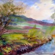 Natural landscape painted by watercolor — Stock Photo