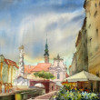 Austrian city Sankt Polten painted by watercolor. — 图库照片