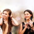 Beautiful student girls having fun — Stock Photo
