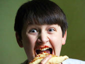 Funny Boy Eating Pizza — Stock Photo