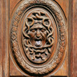 Постер, плакат: Human face wrapped up by snakes in a circular frame on an old wooden door