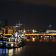 Stock Photo: HMS Belfast at night
