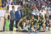 Unicaja players celebrating victory — Stock Photo