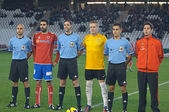CORDOBA, SPAIN - JANUARY 13:Players initial alignment during match league Cordoba(W) vs Numancia (R)(1-0) at the Municipal Stadium of the Archangel on January 13, 2013 in Cordoba Spain — Stock Photo