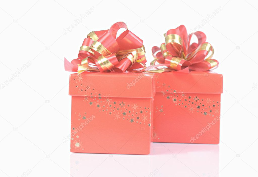 Red gift box on white background — Stock Photo #21016731