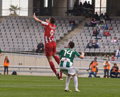 CORDOBA, SPAIN - MARCH 17: Charles Dias Oliveira R(9) in action during match league Cordoba(W) vs Almeria (R)(4-1) at the Municipal Stadium of the Archangel on March 17, 2013 in Cordoba Spain — Stock Photo