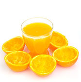 Glass of natural orange juice — Stock Photo