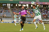 CORDOBA, SPAIN - AUGUST 18: Luis Eduardo W(6) in action during match league Cordoba (W) vs Ponferradina (B)(1-0) at the Municipal Stadium of the Archangel on august 18, 2013 in Cordoba Spain — Stock Photo
