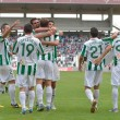 CORDOBA, SPAIN - SEPTEMBER 29: Cordoba players celebrating goal during match league Cordoba (W) vs Girona (B)(2-0) at the Municipal Stadium of the Archangel on September 29, 2013 in Cordoba Spain — Stock Photo