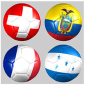 Ball with flags of the teams in Group E World Cup 2014 — Stock Photo