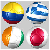 Ball with flags of the teams in Group C World Cup 2014 — Stock Photo