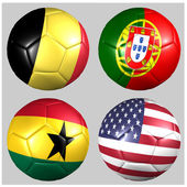 Ball with flags of the teams in Group G World Cup 2014 — Stock Photo
