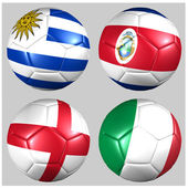 Ball with flags of the teams in Group D World Cup 2014 — Stock Photo