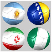 Ball with flags of the teams in Group F World Cup 2014 — Stock Photo