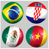 Ball with flags of the teams in Group A World Cup 2014 — Stock Photo
