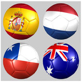 Ball with flags of the teams in Group B World Cup 2014 — Stock Photo
