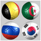 Ball with flags of the teams in Group H World Cup 2014 — Stock Photo