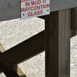 Stock Photo: Beware of glass warning Sign