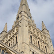 Close up of Norwich Cathedral spire - 图库照片