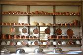 Large amount copper cookware — ストック写真
