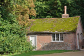 Moss Roofed red brick cottage — Stock Photo
