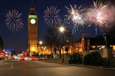 Fireworks over houses of parliament uk — Foto de Stock