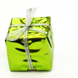 Bright green christmas box — Stock Photo