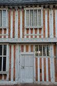 Doorway of timber framed building — Stock Photo