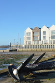 Riverside flats with Anchor in Foreground in portrait format — Stock Photo