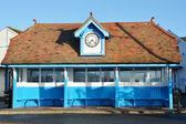 Vintage blue shelter — Stock Photo