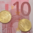 Ten cents on 10 Euro note — Stock Photo