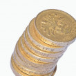 Stock Photo: Leaning Pound Coins